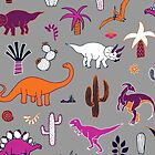 Dinosaur Desert - pink & orange on grey by Cecca-Designs