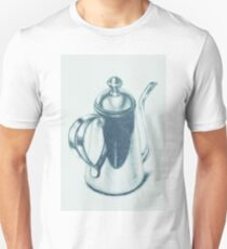 Metallic, shiny, glossy drawing of teapot isolated. T-Shirt