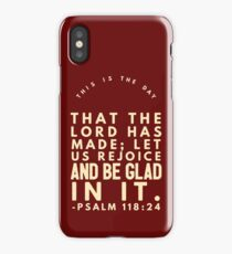 Psalm 118:24 Burgundy And Cream iPhone Case/Skin