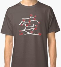 Chinese 'Ai' (Love) Calligraphy With Red Cherry Blossoms On White Branches | Japanese Sakura Kanji Classic T-Shirt