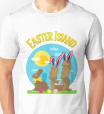 Easter Island Happy Easter Bunny Eggs Funny Moai Unisex T-Shirt