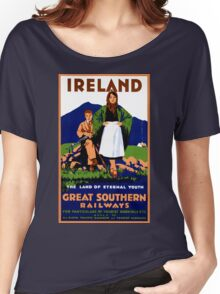 Ireland Restored Vintage Travel Poster Women's Relaxed Fit T-Shirt