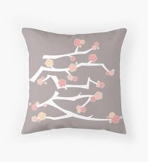 Chinese 'Ai' (Love) Calligraphy With Pink Cherry Blossoms On White Branches | Japanese Sakura Kanji Throw Pillow