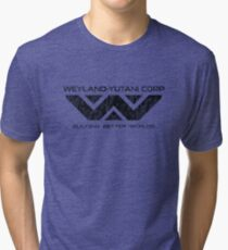 Weyland Yutani - Distressed Black Logo Tri-blend T-Shirt
