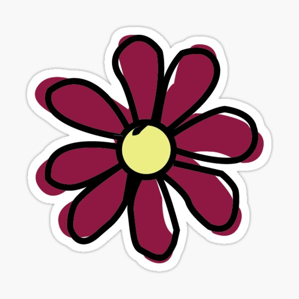 Maroon Flower Sticker
