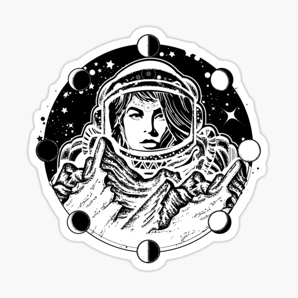 investigación científica. Diseño de camiseta de astronauta Pegatina