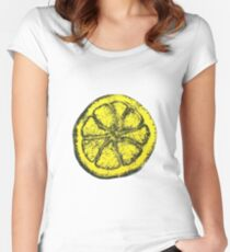 Yellow Silkscreen Lemon / The Stone Roses inspired Women's Fitted Scoop T-Shirt
