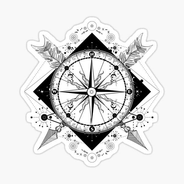 Brújula y flechas cruzadas Pegatina