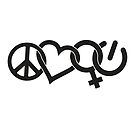 Peace Love Woman Power Symbol in Black by jitterfly