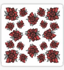 peony graphic line pattern RED Sticker