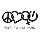 Peace Love Girl Power Symbol in Black with words by jitterfly