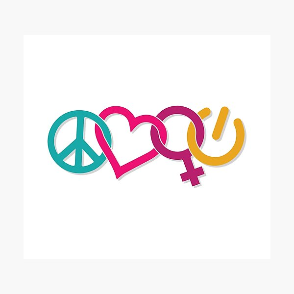 Peace Love Girl Power Symbol Multicolor Photographic Print