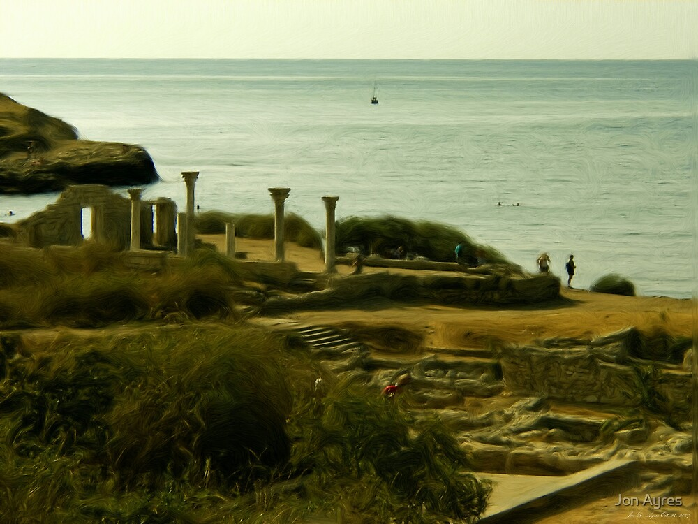 Greek Temple by the Sea by Jon Ayres