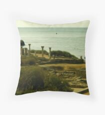 Greek Temple by the Sea Throw Pillow