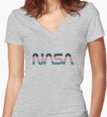 NASA Worm Retro Grey-Red-Blue Women's Fitted V-Neck T-Shirt