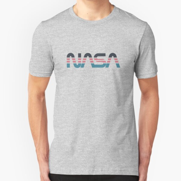 NASA Worm Retro Grey-Red-Blue Slim Fit T-Shirt