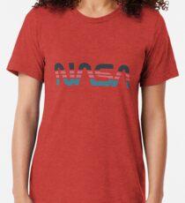 Camiseta de tejido mixto Gusano de la NASA Retro gris-rojo-azul