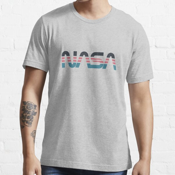 NASA Worm Retro Grey-Red-Blue Essential T-Shirt