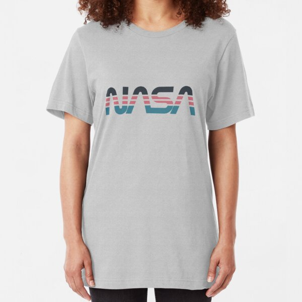 NASA Worm Retro Grey-Red-Blue Slim Fit T-Shirt