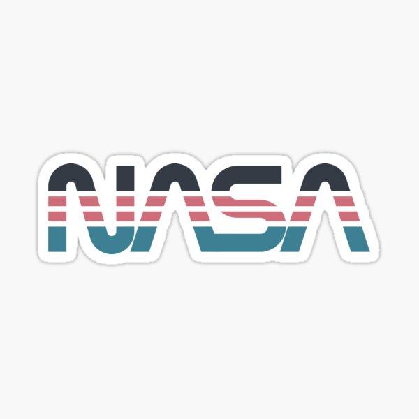 NASA Wurm Retro Grau-Rot-Blau Sticker