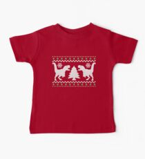 Ugly T-Rex Christmas Holiday Sweater Design Baby Tee