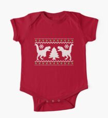 Ugly T-Rex Christmas Holiday Sweater Design Short Sleeve Baby One-Piece