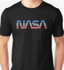 NASA Worm Retro Blue-Red-White Unisex T-Shirt