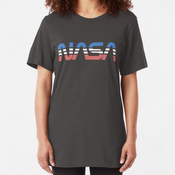NASA Worm Retro Blue-Red-White Slim Fit T-Shirt