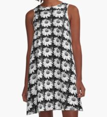 daisy in black and white A-Line Dress