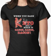 Funny Keto Bacon Womens Fitted T-Shirt
