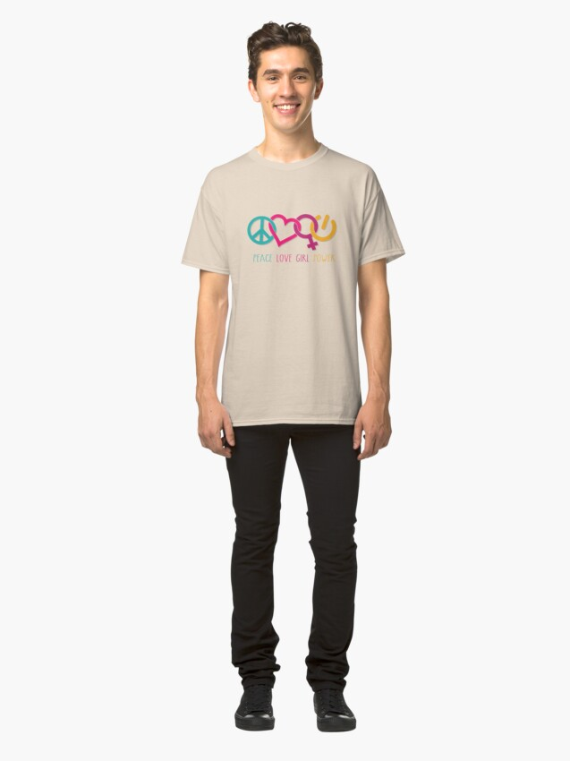 Alternate view of Peace Love Girl Power Symbol Multicolor Classic T-Shirt