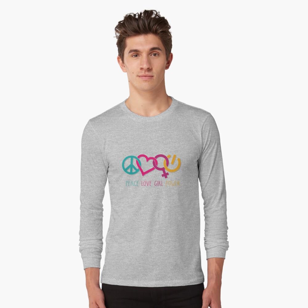 Peace Love Girl Power Symbol Multicolor Long Sleeve T-Shirt