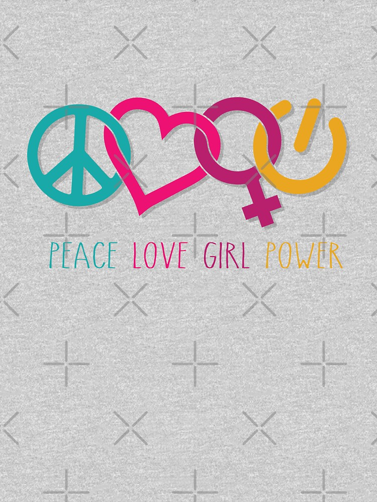 Peace Love Girl Power Symbol Multicolor by jitterfly
