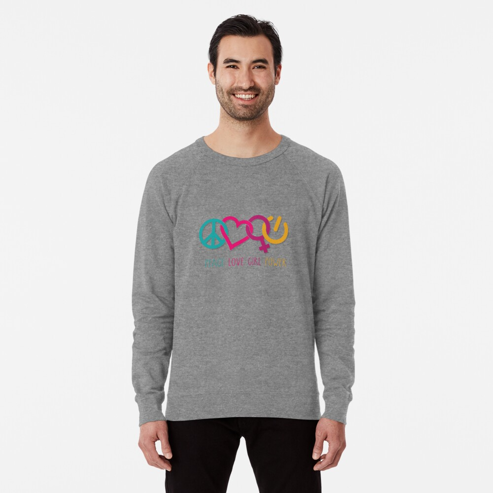 Peace Love Girl Power Symbol Multicolor Lightweight Sweatshirt
