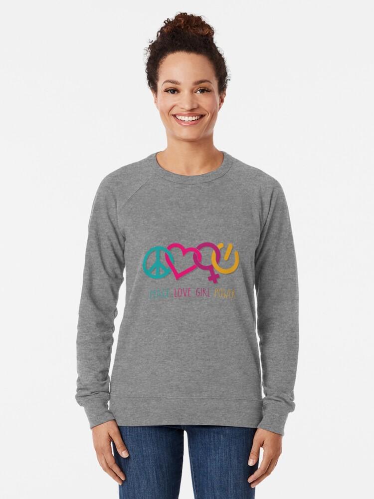 Alternate view of Peace Love Girl Power Symbol Multicolor Lightweight Sweatshirt
