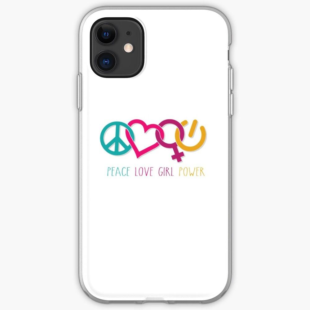 Peace Love Girl Power Symbol Multicolor iPhone Case & Cover