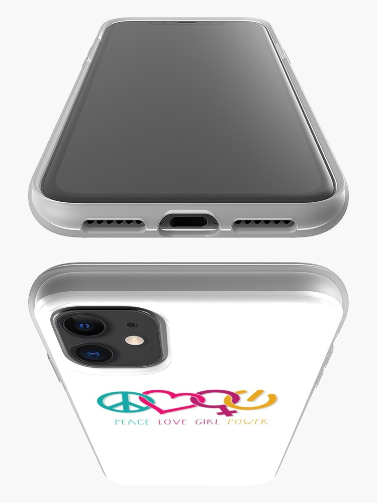 Alternate view of Peace Love Girl Power Symbol Multicolor iPhone Case & Cover