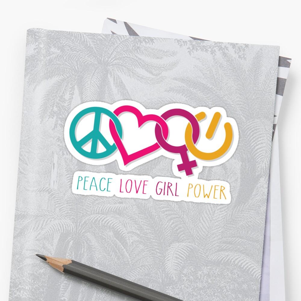Peace Love Girl Power Symbol Multicolor Sticker