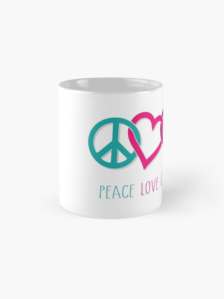 Alternate view of Peace Love Girl Power Symbol Multicolor Mug