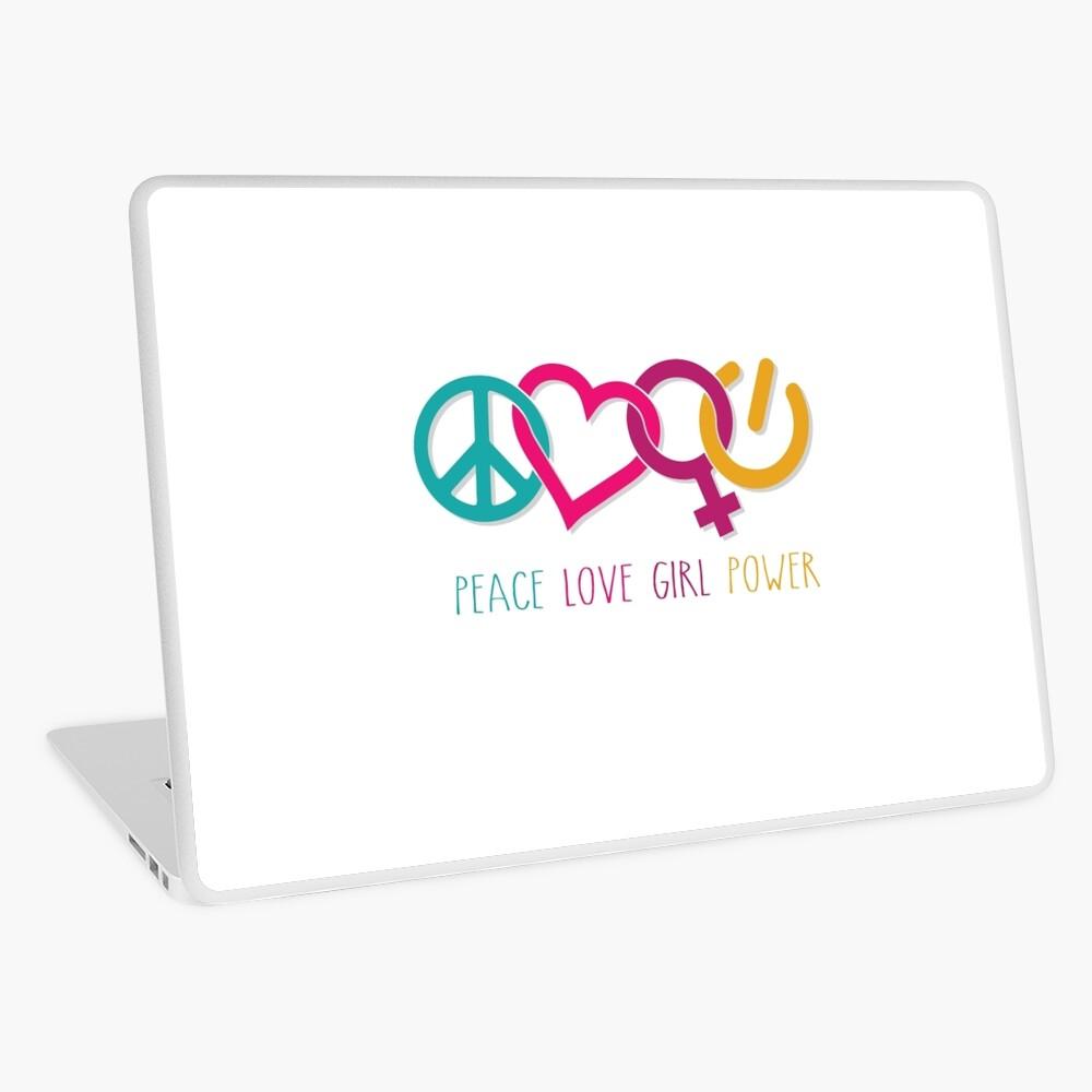 Peace Love Girl Power Symbol Multicolor Laptop Skin