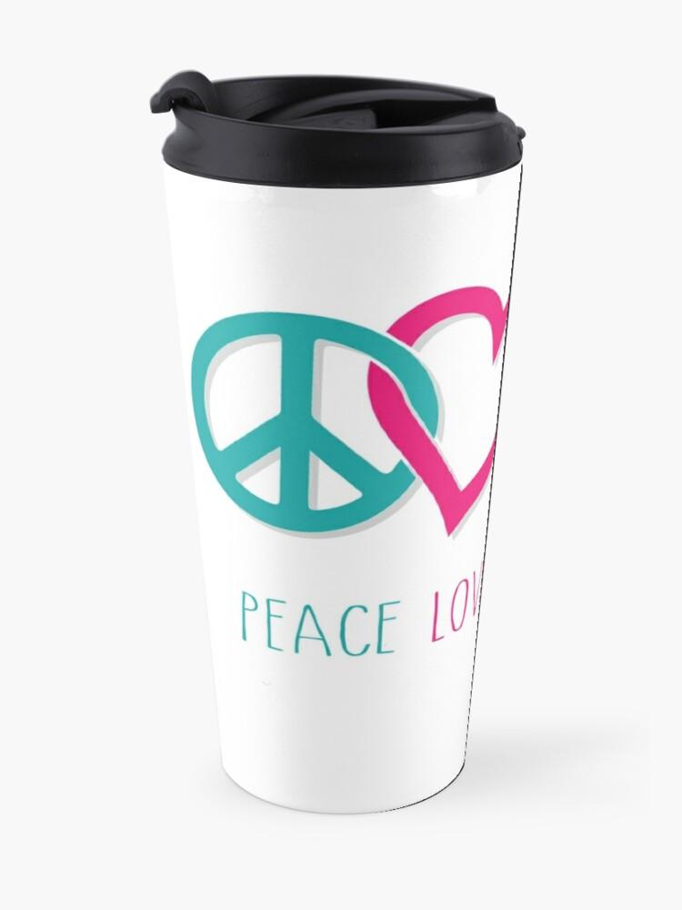Alternate view of Peace Love Girl Power Symbol Multicolor Travel Mug