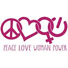 Peace Love Woman Power Symbol in Pink by jitterfly