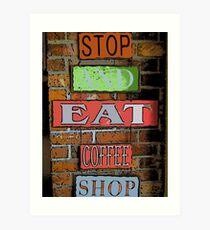 Comic Abstract Coffee Shop Signs Art Print