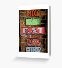 Comic Abstract Coffee Shop Signs Greeting Card