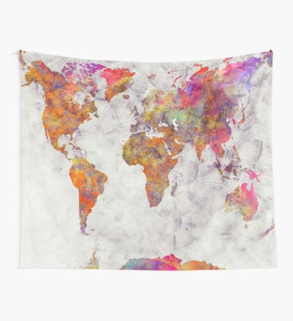 world map 54 color Wall Tapestry