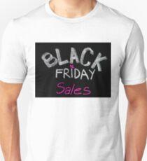 Black Friday sales advertisement handwritten with chalk Unisex T-Shirt