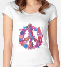 Psychedelic Peace Symbol Women's Fitted Scoop T-Shirt