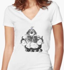 Bearded Collie And Sheep Women's Fitted V-Neck T-Shirt
