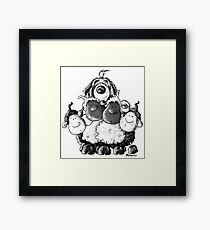 Bearded Collie And Sheep Framed Print