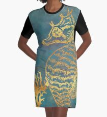 Deep Sea Life V Golden Seahorse, ocean texture Graphic T-Shirt Dress